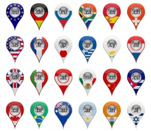 3D set of domain pin-pointers with various countries flags