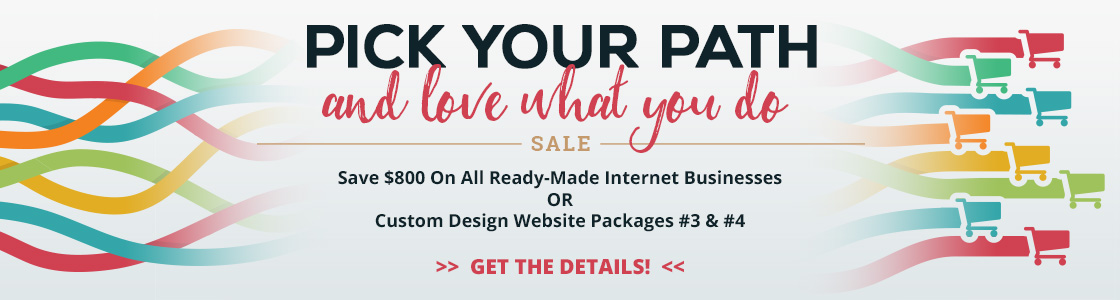 Pick Your Path and Love What You Do Sale - save $800 on all ready-made or custom ecommerce businesses