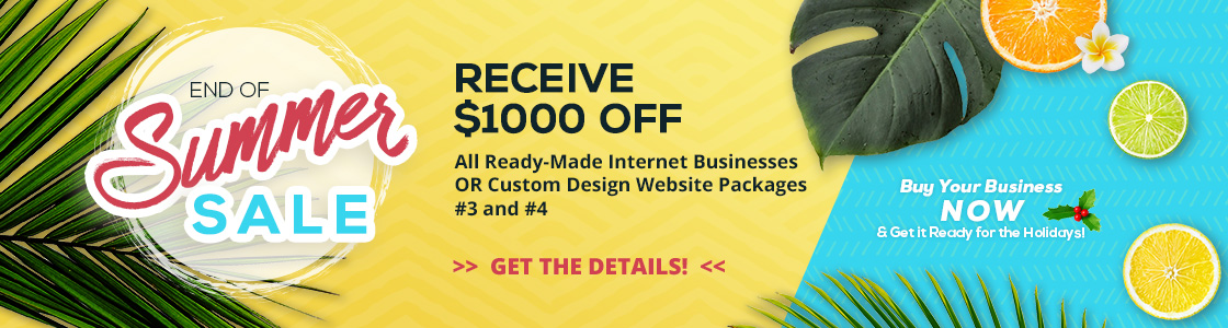 2017 End of Summer Sale - Save $1000 off all ready-made and custom #3 and #4 internet businesses.  Purchase by September 5, 2017