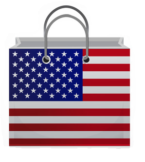 Shopping bag with US flag on it